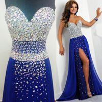 Wholesale royal blue beaded slit dress resale online - 2020 Bling Royal Blue Prom Dresses Sweetheart Crystal Evening Gowns High Slit New Beaded Vestidos Diamonds