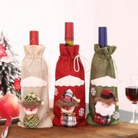 pano de mesa para festas venda por atacado-Garrafa de natal cove adorável artigos decorativos vinho tinto garrafa de champanhe saco de mesa vestir bens domésticos presente de feriado saco de pano