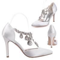 zapatos de baile de tacón alto al por mayor-0608-22 Rhinestone Crystal Stain zapatos de vestir de la boda del dedo del pie puntiagudo bombas de tacón alto 10 cm fiesta de baile de baile accesorios de novia de noche