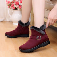 Wholesale comfort shoes boots women resale online - Women Zip Winter Snow Boots Ladies Warm Fur Suede Wedge Ankle Boot Female Fashion Casual Shoes Comfort Footwear Plus Size T200106