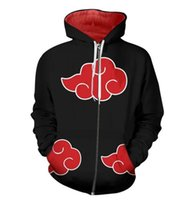 Wholesale naruto jacket online - New Naruto cosplay costume Hoody D print Hoodies Akatsuki Hoodie Naruto Uchiha Itachi cosplay hooded zipper jacket