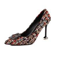 kristal kare tokalar toptan satış-Elbise Ünlü Marka Örme Muliti-renkler Kumaş Pompaları Süper Yüksek Topuklu Kadın Kare Toka Elbise Ayakkabı Ol Kadınlar Kristal Düğün ayakkabı