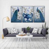 ingrosso pavone di pittura di tela di arte della parete-3PCS incorniciato Wall Art Bella Blue Peacock Wall Art immagini per Living Decor Decor e stampe su tela dipinto
