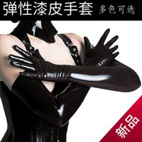 Wholesale glue gloves resale online - Sexy Patent Leather Gloves Glue Tight Fit Long Queen Sexy Temptation Coated Sexy DS Pole Dancing Bright Skin Supplies