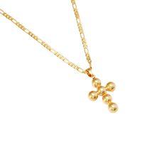 wulstige kreuzkette großhandel-Kreuz Kruzifix Jesus Anhänger Halskette Gold Farbe Messing Kupfer Männer Kette Christian Vintage Perlen Kreuz Schmuck
