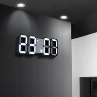 reloj de pared con luz led al por mayor-Nuevo LED de luz de pared 3D Reloj digital Lámpara de pared Electrónica de pared estéreo Reloj despertador Mesa Escritorio Decoración para el hogar RNB78