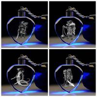 Wholesale zodiac toys figures resale online - IVYYE Chinese Zodiac Role Heart shaped Anime LED Key Chains Figure Keyring Crystal Toy Keychain Light Keyholder Unisex Gifts NEW