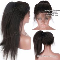 Wholesale top quality full lace wigs resale online - Hot Beautiful Natural Hairline Heat Resistant Glueless Full Wigs inch Top Quality Kinky Straight Synthetic Lace Front Wigs with Baby Hair