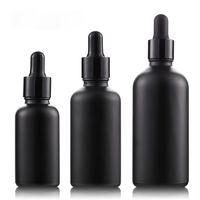 flaschenhersteller groihandel-Direkt Hersteller! 30ml 50ml 100ml Mattschwarzes Glasölflaschen Peeling Schwarze Tropfflasche Elektronische Zigarettenölflasche Freier DHL
