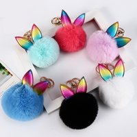 Wholesale keys hair resale online - 2019 Hot Pompom Hair Ball Key Chain Lady DIY Jewelry Pendant PU Leather Rabbit Ear Key Ring Animal Keychains Charm Keyrings Hanging M615F