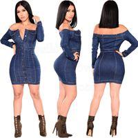 ingrosso lunga gonna di denim per-2019 Donna Autunno Femminile Sexy fuori dalla spalla vestito dal denim Long Sleeve Plus Size Jean blu del vestito vestito casual gonna a portafoglio stretto