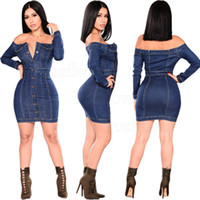 mini saias apertadas azuis venda por atacado-2019 Mulher Outono Feminino Sexy Off The Shoulder Denim Vestido de Manga Longa Plus Size Azul Jean Vestido Outfit Casual dress apertado envoltório saia