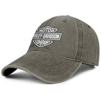 casquettes en jean lavé achat en gros de-Hommes femmes vintage chapeaux en Denim lavé réglable Harley Davidson moto logo personnalisé casquette de pêche cool papa chapeau en plein air