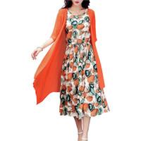 schleppsteine kleider großhandel-Sommerkleid Frauen Kleid Beiläufige Lose Schlepptau Stück Baumwolle Linie Kleid Druck O-Neck Plus Größe Vestidos De Festa M-5XL