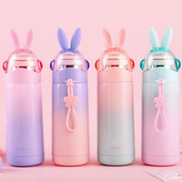 Wholesale adults girl bags resale online - Stainless Steel Water Bottle Rabbit Cap Sport Water Bottle Student Girl Insulated Vucuum Mug with Rope ml DHB510