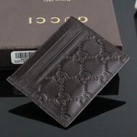 bolsa de mala de design venda por atacado-Venda quente de Moda de Design Clássico Couro Genuíno Negócio Pequeno carteira de Alta Qualidade Fina Banco ID Card Case Coin Pouch Bag com caixa