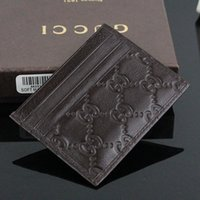 ingrosso sacchetti piccoli casi-Vendita calda Moda Design classico Portafoglio in vera pelle Portafoglio sottile di alta qualità ID Card Case Coin Pouch Bag con scatola