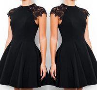 vestidos de cocktail pretos para adolescentes venda por atacado-Pouco preto mini vestidos curtos de regresso a casa cap manga lace a line vestidos de festa para adolescentes bm1518