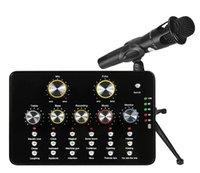 chatten mikrofon großhandel-V10 Kondensatormikrofon Soundkarte mit Stativhalterung für Computer Studio Vocal Recording Karaoke für Live-Übertragung Chat
