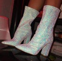 botas de lentejuelas azules al por mayor-Mujeres 11cm tacones altos bloque de plata Botas Fetiche Glitter Blue talones de la pantorrilla botas de mediana Chunky otoño invierno de las lentejuelas del tobillo Zapatos