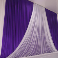 Wholesale tulle wedding backdrop for sale - Group buy 3 M Blue Ice Slik Wedding Party Backdrop Curtain With Beauty Tulle Swag Background Stage Event Party Decorations