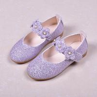 niños zapatos de princesa verde al por mayor-Zapatos de niños Zapatos de cuero para bodas Pisos florales Princesa Bebé Zapatos de fiesta para niños pequeños Niños Zapatos escolares Big Girls Negro Verde