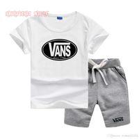 niñas ropa casual al por mayor-VS Little Kids Sets 1-7T Camiseta para niños y pantalones cortos Pure Color 2Pcs / sets Bebé niños ropa de diseñador niñas Conjuntos