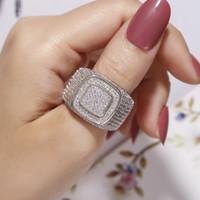 925 ringe für männer stein großhandel-Luxus Hip Hop Micro Pave CZ Steine Alle Iced Out Bling Ring 925 Silber Vergoldet Hip-Hop Ringe für Männer Schmuck Junge Geschenk Größe 8-13