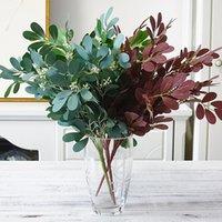 follaje de seda al por mayor-Artificial Verde Azufaifo rama de imitación de follaje de flores de seda + plástico plantas artificiales para Home boda de la caída Decoración Jungle Party Decor