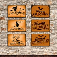 Wholesale tin signs decor for sale - Group buy Halloween Tin Signs Pumpkin Vintage Wall Art Retro TIN SIGN Wall iron Painting Plaques Bar Pub Restaurant Home Decor styles