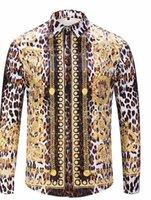 ingrosso uomini della camicia del manicotto di stampa del leopardo-Luxury Fashion Flora Leopard Print Camicie da uomo Designer risvolto manica lunga lusso Top Uomo Casual Tees
