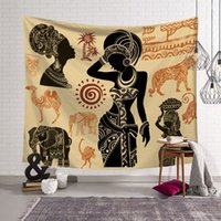 African wall art decoration Moroccan tapestry animal scenery hanging cloth decorative tapiz printed polyester tenture mural