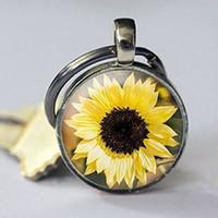 bahçe anahtarlık toptan satış-Bronz Ayçiçeği anahtarlık, Gümüş Çiçek anahtarlık, Gerçek bakır Çiçek Takı, Ayar bakır Ayçiçeği Takı, Bahçe Hediye