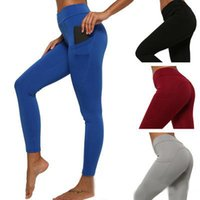 Wholesale bodybuilding yoga pants resale online - 2019 Side Pocket Running Pants High Elastic Sports Casual Yoga Pants Bodybuilding High Waist Leggings Sport Women Fitness Set lulu Factory