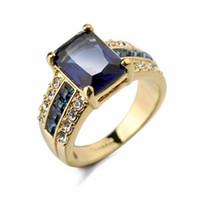 banda de cristal azul venda por atacado-Moda Jóias Quadrado Corte Sapphire Blue Crystal Band Anéis de Noivado para As Mulheres Meninas Europeus e EUA Estilo da Cor do Ouro