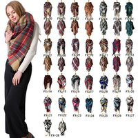 frauen s wrap schals großhandel-Winter Dreieck Schal Tartan Kaschmir-Schal Frauen Plaid Blanket Schal New Designer Basic Tücher Schals der Frauen Wraps 140 * 140 cm ZZA875