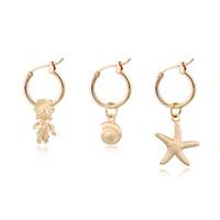 ingrosso pendente di lumaca dei monili-1 paio carino piccolo pesce stella lumache orecchino ad anello donne personalità color oro mini animali pendente cerchio orecchini gioielli E314