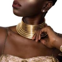 afrikanischer goldkragenchoker großhandel-Afrikanischer Wind Schmuck Colliers Long Neck Halsketten Kragen Cross Border Schmuck Halskette Gold Silber Dekoration Unisex A21