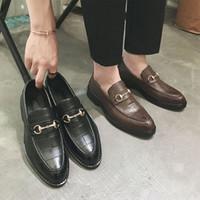 yeni moda ayakkabı fiyat toptan satış-Kutu Boyutu 40-47 ile Yeni Marka Düşük Fiyat Erkekler Moda Deri loafer'lar Ayakkabı Flats Espadrilles ayakkabı Erkekler Elbise İş Ayakkabıları