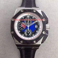 ingrosso carbonio ceramico-4 Style Luxury Watch di qualità migliore 44mm Offshore 26290IO.OO.A001VE.01 Ceramic Watch in fibra di carbonio svizzero CAL.3126 Automatic Mens Watches