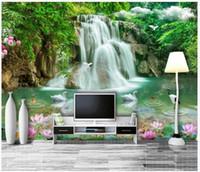 papel de jardinería al por mayor-Murales fotográficos de seda 3D personalizados papel tapiz Paisaje tridimensional paisaje en 3D Sofá TV papel tapiz para paredes 3d