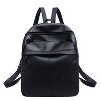 mochila de cuero negro vintage al por mayor-Mochila de diseño Mochila de cuero para mujer Sólido con cierre de cremallera Mochila con asa suave Bolsa de mochila de viaje de la escuela de viaje Negro # zs