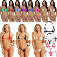 micro-tanga-dessous groihandel-Sexy Bikini Bademode Set Damen Micro Thong G-String Bra Mini Wäsche Nachtwäsche heiße Quellen Zu