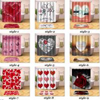 ingrosso docce rosse docce-San Valentino Shower Curtain romantica Cuore rosso di amore della Rosa Bagno Doccia cortina di tessuto in poliestere impermeabile con ganci 12pcs 180x180cm