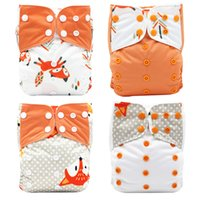 Wholesale diaper snaps resale online - 4PCS Set Baby Diapers Washable Reusable Nappies Bamboo Insert Waterproof PUL Double Row Snap Infant Baby Cloth Diaper One Size