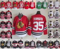 jersey tony esposito al por mayor-35 Tony Esposito Jerseys Hombres Chicago Blackhawks 81 Hossa 30 Belfour Marian Patrick Kane Stanley Alex DeBrincat Hockey Jersey