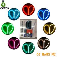 tiras de drl venda por atacado-DRL LED 60CM flexível * 2 Dual Color Água Branca fluindo sinal de LED DRL Assembléia Farol Neon Car Knight Rider luz de tira