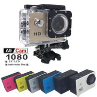 полный hd видеокамеры cmos оптовых-Горячая продажа имитация для A9 mini Sports camera 2-дюймовый ЖК-экран 1080P Full HD Action Camera 30 м водонепроницаемые видеокамеры шлем sport DV