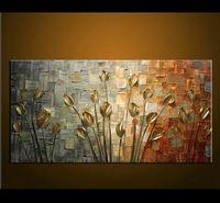 cuchillo de paleta moderno al por mayor-100% Pintado a mano Modern Home Decor Wall Art Picture Blanco Rosa Cerezo árbol Grueso Paleta Cuchillo Pintura Al Óleo Sobre Lienzo J190707