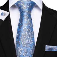 ingrosso legami floreali blu-Paisly Ties Mens Cravatta Blu Floreale Jacquard Tessuto 100% Seta Cravatta Hanky Gemelli Business Party Fazzoletto Classico Gravatas SN-7112